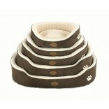 """Luxury British Made Soft Dog Bed With Paw Print Brown & Cream 21"""""""
