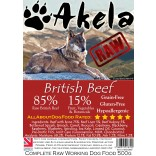 Akela Frozen Raw Complete Working Dog Food 85:15 Beef 500g