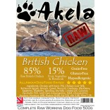 Akela Frozen Raw Complete Working Dog Food 85:15 Chicken 500g