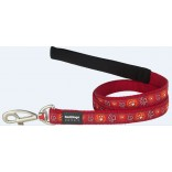 Red Dingo Dog Lead Paw Impressions Red